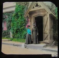 Glass Magic Lantern Slide VICTORIAN LADY CALLING ON A PRIEST C1890