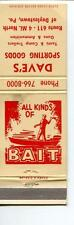MATCHBOOK DAVES SPORTING GOODS TENTS CAMP TRAILERS GUNS AMMO BAIT DOYLESOWN PA