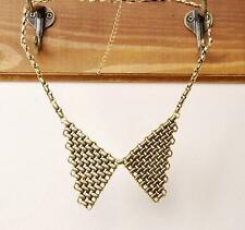 Antique Vintage Gold Metal wings triangle Collar Necklace Peter Pan Steampunk