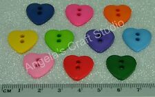 25 Heart Bright Novelty Buttons New - Great for Sewing & Many Craft Projects