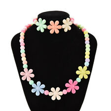 Colorful Beads Necklace&Bracelet Set Baby Girls Flower Jewelry Good gift Nice