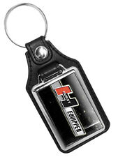HURST EQUIPPED CAR AUTO MOTOR EMBLEM FAUX LEATHER KEY RING KEYCHAIN MADE IN USA