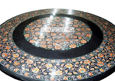 """36"""" Black Marble Dining Table Top Rare Carnelian Mosaic Marquetry Art Gift H3005"""