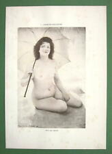 NUDE Young Maiden at Beach Sun Parasol - COLOR Lichtdruck Print