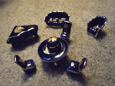 Limoges France Porcelain Miniature doll house Furniture blue and gold - 8 pieces