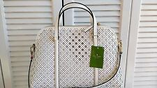 NWT Kate Spade mini Romy Newbury Lane Caning Leather Tote Bright White New