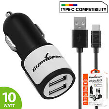 2.1A/10W Dual USB Port Car Charger w/ Type C Cable for Motorola Moto Z Play