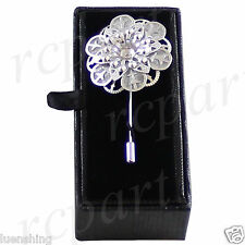 New in box Men's Suit brooch chest metal flower shape silver lapel pin formal