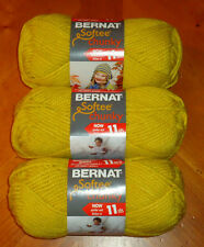 Bernat Softee Chunky Yarn Lot Of 3 Skeins (Glowing Gold #28607)
