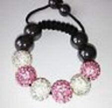 CHILDRENS SPARKLY PINK & WHITE SHAMBALLA BRACELET - 6 DISCO BEADS-CZECH CRYSTAL