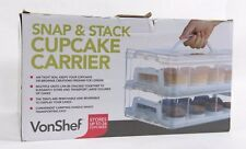 Cupcake Carrier | Snap & Stack by VonChef | Stores 24 Cupcakes, Air Tight