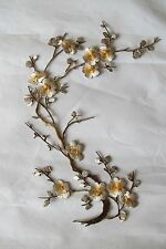 "#6767K 10-5/8"" Yellow Grey Quince, Sakura Flower Embroidery Appliqué Patch-Left"