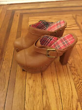 SYRUP Imported Leather High Heel Clogs Size 5 Orig. $178 NEW