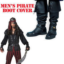 Boot Tops Pirate Costume Black Adult Men's Buccaneer Shoe Covers