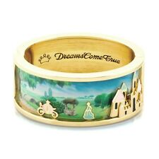 Disney Couture 14kt Gold & Enamel Cinderella & Magic Castle Scene Wide Bangle