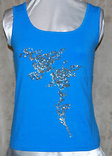KATHLEEN KIRKWOOD BEAUTIFUL FLORAL SEQUIN STRETCH COTTON CAMISOLE TURQ/SILVER L