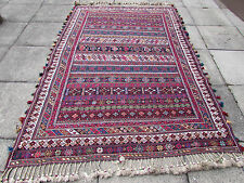 Fine Old Traditional Hand Made Persian Oriental Sumak Kilim Wool Red 254x168m