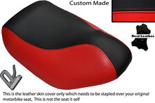 BLACK & BRIGHT RED CUSTOM FITS HYOSUNG SF 50 FRONT LEATHER SEAT COVER