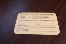 P&LE PITTSBURGH & LAKE ERIE SPECIAL COACH PARTY IDENTIFICATION CERTIFICATE
