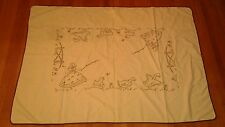 Vintage Linen Yellow Brown Embroidery Girls w Ducks So Cute Tablecloth
