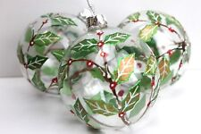 GISELA GRAHAM CHRISTMAS CLEAR GLASS BAUBLE WITH PAINTED HOLLY DECORATION X 3