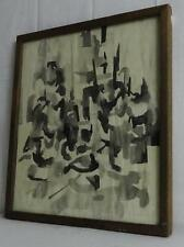Vintage Schier Abstract Black & White Watercolor Painting 1960's