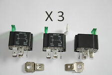 PACK OF 3 12V 4 PIN Relay 30AMP Fused with Bracket