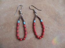 Turquoise, Coral & Olive Shell Heishi Earrings Santo Domingo