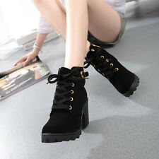 Womens Fashion High Heel Lace Up Ankle Boots Ladies Buckle Winter Platform Shoes