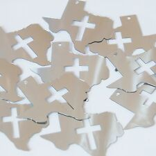 "Sequin Texas Cross Cut Out 1.5"" Silver Metallic Couture Paillettes. Made in USA."