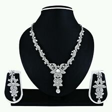Indian Bollywood Ethnic Designer Silver/Rodium Plated Necklace Earring Set