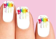 Waterslide Nail Decals Set of 20 - Colorful Paint Splatter Dripping #2