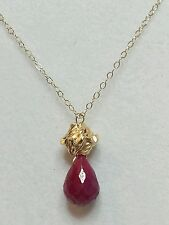 Solid 14k gold flower 3ctw Ruby tear drop pear briolette pendant necklace