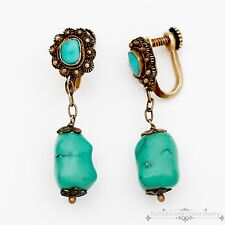 Antique Vintage Art Deco Sterling Silver Chinese Turquoise Filigree Earrings!