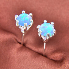 Classical Round Cut Woman Rose Pink Blue White Fire Opal Silver Stud Earrings