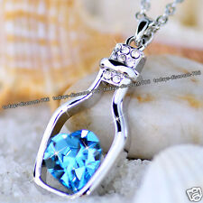 Silver & Blue Heart Crystal Necklace Chain Xmas - Gifts For Her Girlfriend Women