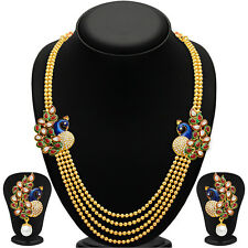 INDIAN NECKLACE JEWELRY SET BOLLYWOOD FASHION BRIDAL GLEAMING PEACOCK