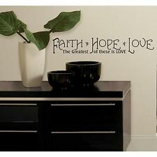 FAITH HOPE LOVE Quote wall stickers scrapbook 12 decals inspirational