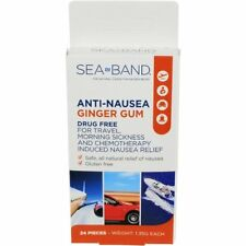 3 Pack Sea-Band Anti-Nausea Ginger Gum For Travel,Morning Sickness 24 Pieces Ea
