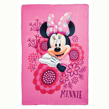 "Disney Minnie Mouse Floral Kids Girls Fleece Throw Sheet Blanket 45""x60"" Pink"