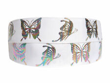 PRETTY MULTI COLOURED BUTTERFLY RIBBON 2M X 22mm For BIRTHDAY CAKES GIFT WRAP W1