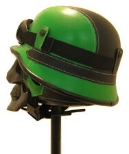 BLACK GREEN NOVELTY HELMET WITH GOGGLES STEAMPUNK GOTH PUNK BIKER TRIKE FESTIVAL