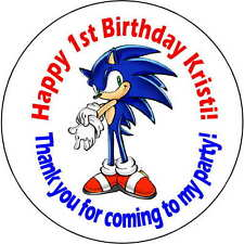 24 stickers 1.67 Inch Personalized round birthday party sonic the hedgehog