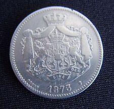 """Pièce  """" RARE""""   2 LEI  en Argent  CAROL I  DE 1873  Roumanie"""