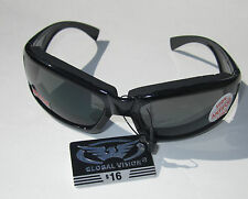 Smoke PADDED Motorcycle Riding Glasses Sunglasses Anti Fog Biker goggle MOPED
