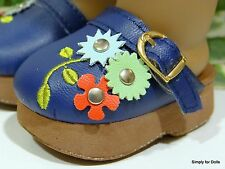 "NAVY BLUE Floral DOLL CLOGS SANDALS SHOES fits 18"" AMERICAN GIRL Doll Clothes"