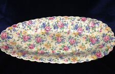 "JAMES KENT ROSALYNDE OVAL 13"" CUCUMBER TRAY PINK YELLOW FLORAL CHINTZ LONGTON UK"