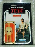 Vintage Star Wars 1983 AFA 75/80/85 LUKE SKYWALKER FARMBOY ROTJ 65 Back card MOC