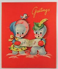 Vintage Christmas Card~Baby Mr & Mrs Snowman Singing Music~Blue Bird Bonnet Hat