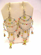 COLORFUL MULTICOLORED HOOPS TWISTED WIRE GLASS BEADED PIERCED DANGLE EARRINGS